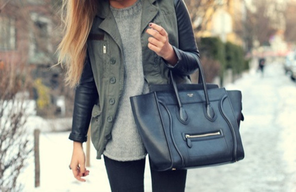 coat celine bag jacket navy green leather leather jacket black bicolor green grunge