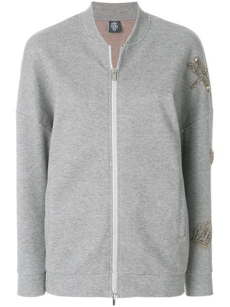 Eleventy - embellished bomber jacket - women - Cotton/Polyester - L, Grey, Cotton/Polyester