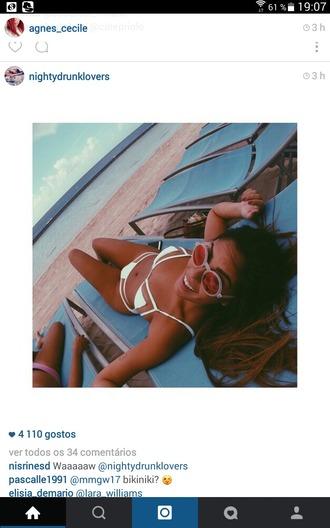 swimwear white bikini sexy love sunglasses