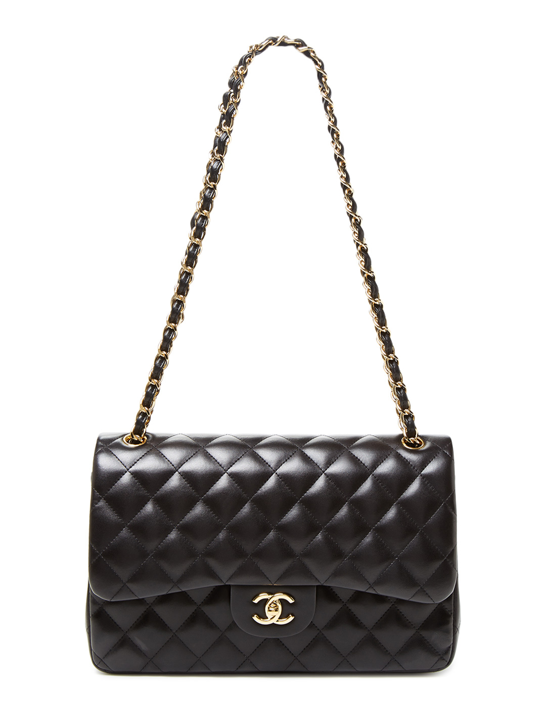 f6c1983b0152 Black Quilted Lambskin Jumbo Classic 2.55 Double Flap Bag by Chanel at Gilt