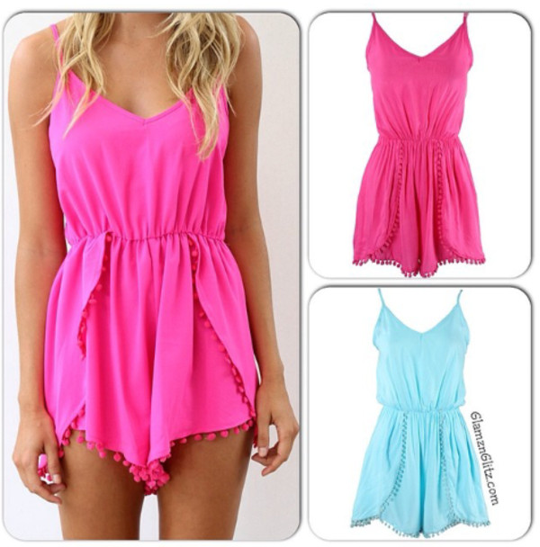 jumpsuit shorts summer color/pattern pink