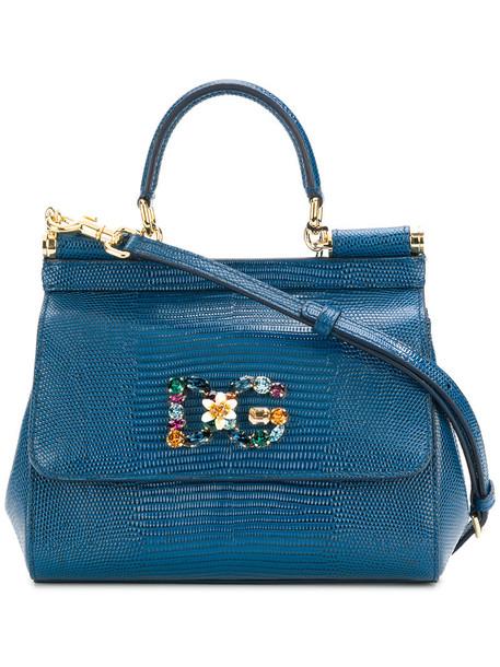 Dolce & Gabbana women leather blue bag