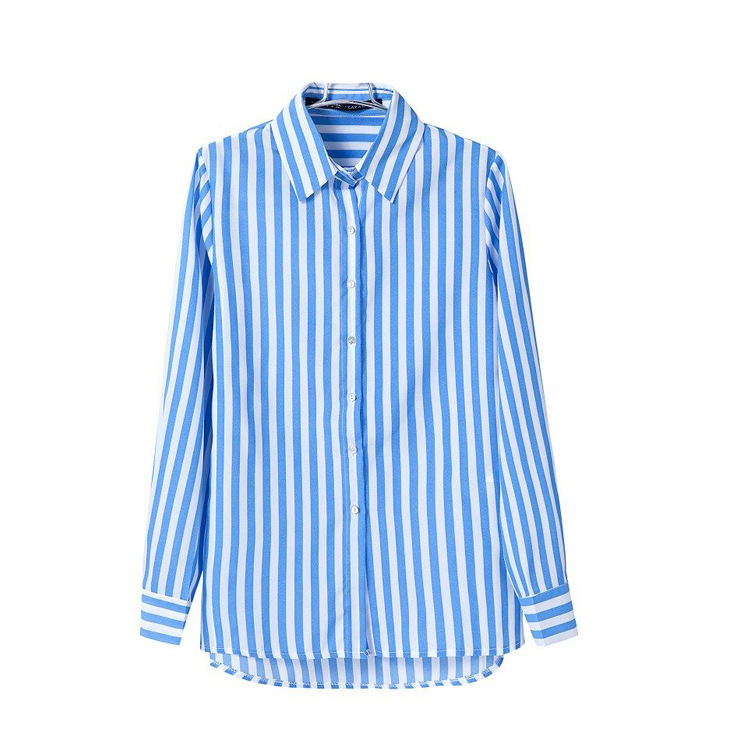 White And Blue Striped Shirt Womens | Artee Shirt