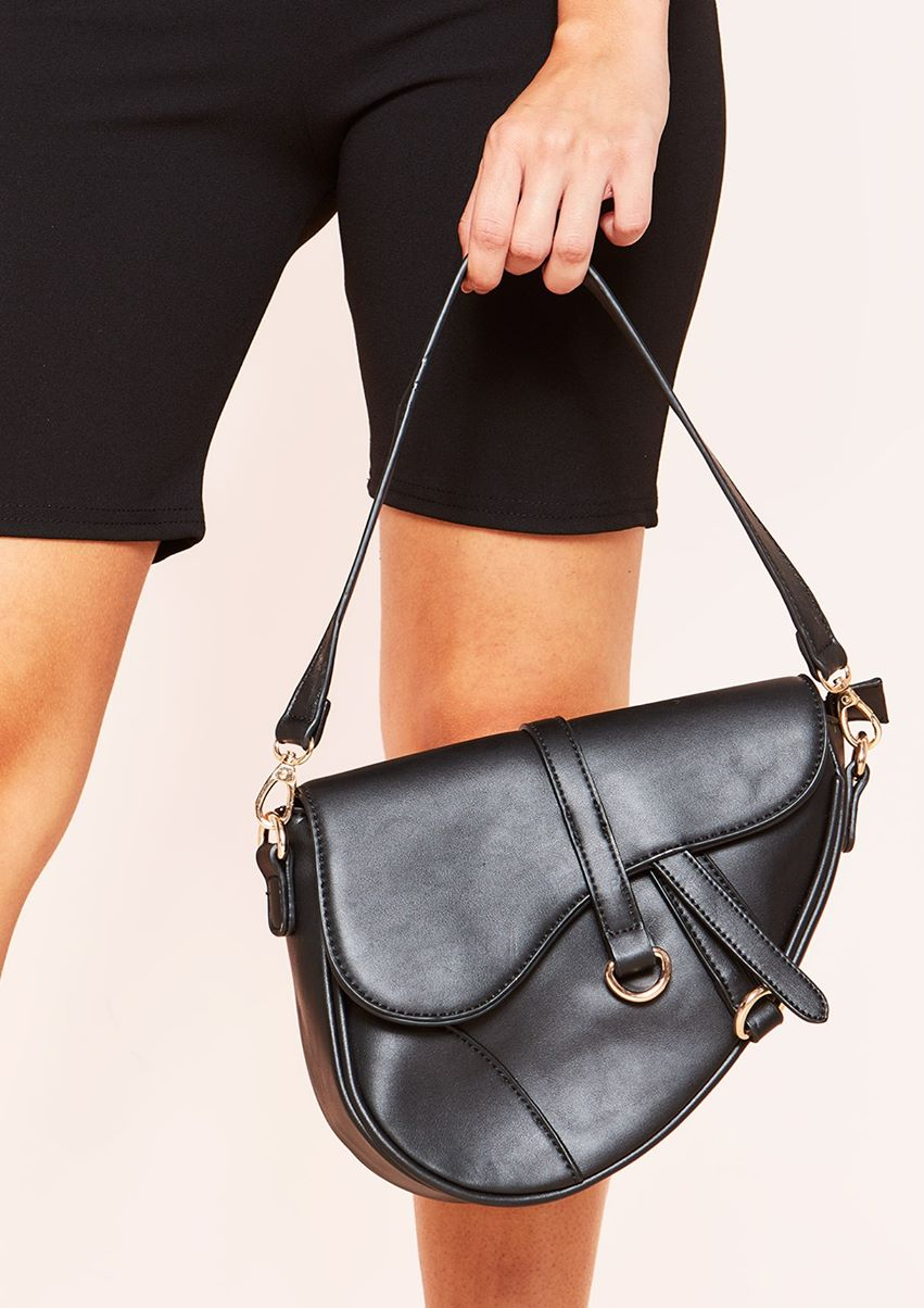 Jasmine Black Faux Leather Large Saddle Bag