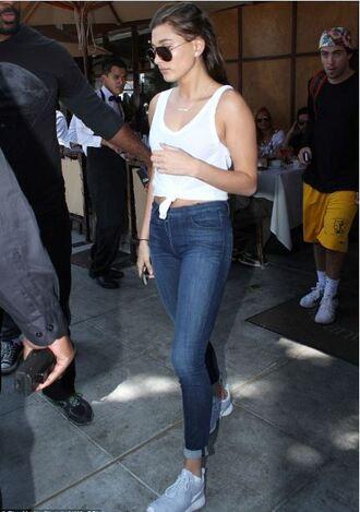 jeans skinny jeans hailey baldwin tank top