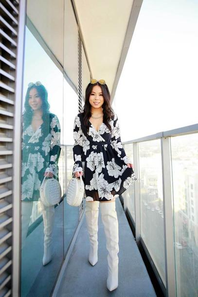 hautepinkpretty blogger dress jewels bag sunglasses shoes fall outfits boots white boots floral dress round bag