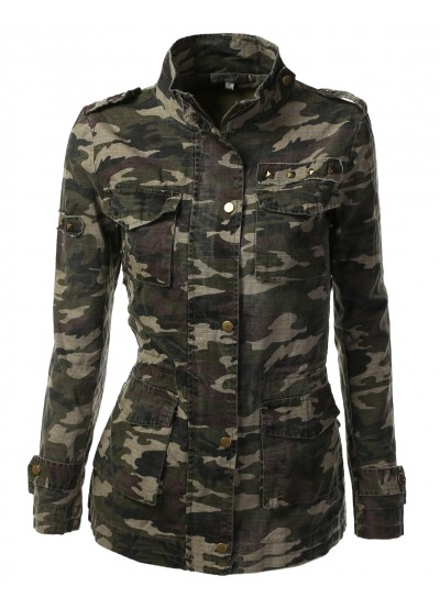 Womens trendy camo military jacket with studs