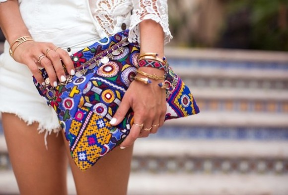 song of style bag jewels boho clutch hand bag hand bad purse nail polish