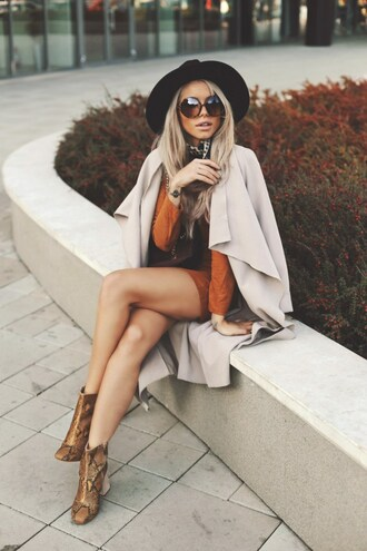coat tumblr nude coat trench coat camel coat dress orange dress orange boots printed boots ankle boots brown boots snake print sunglasses round sunglasses fall colors fall outfits hat