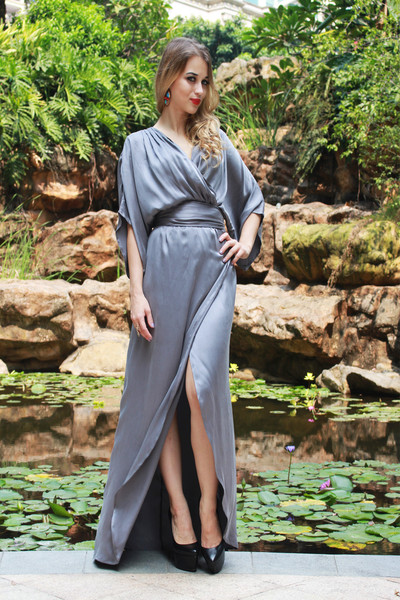 Boho Dress - Grey Silk Flowy Gown
