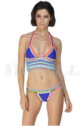 swimwear,bikini,crochet,blue crochet bikini,crochet bikini,neoprene,neoprene bikini,blue bikini,halter bikini
