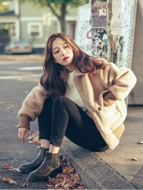 jacket fur fur bomberjacket shearling jacket korean fashion korean style korean street fashion winter outfits fall outfits