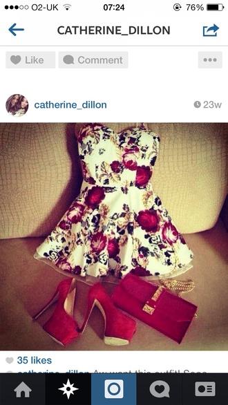 dress red white floral print dress peplum bustier dress gorgeous summer outfits