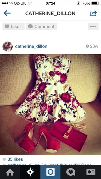 dress floral print dress red white summer outfits peplum strapless dress gorgeous
