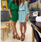 dress,aqua,green,short,3/4 sleeve,wedges,slit sleeve,keyhole