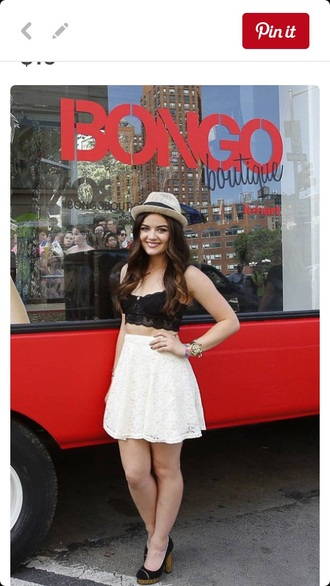 black white lucy hale lucy hale style hat lace crop tops white top skater skirt circle skirt a line skirt bralette