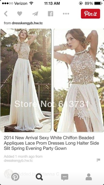 dress white chiffon beaded lace prom dress long halter side split
