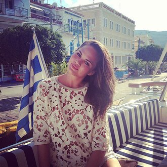 dress chrissy teigen long hair white lace dress greece gorgeous pretty girl tanned girl cover up paradise