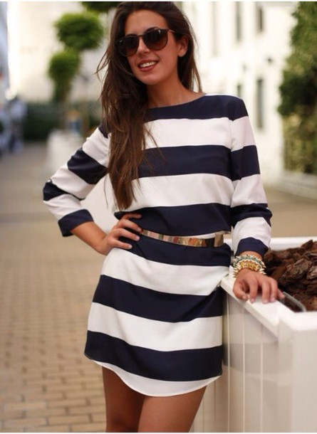 dress t-shirt dress black and white stripes nautical casual dress
