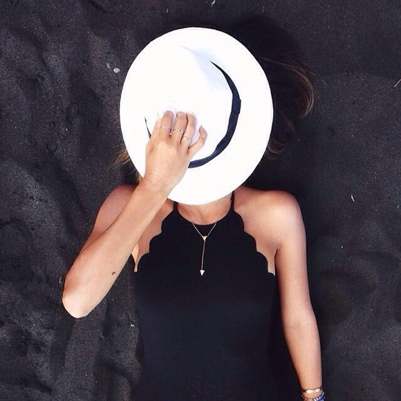 scalloped black tank top halter top