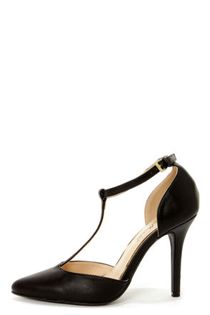 Anne Michelle Momentum 40 Black T-Strap Pointed Pumps - $31.00