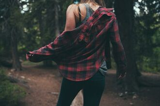 top flannel red and black plaid button up
