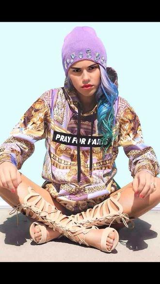 jacket pray for paris sweater gold paris