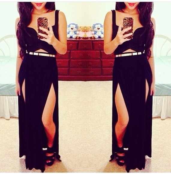 dress black heels long black dress white dress belt