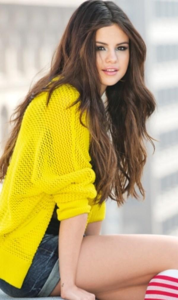 Selena Gomez Yellow Cardigan September 2017