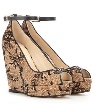 sandals wedge sandals lace beige shoes