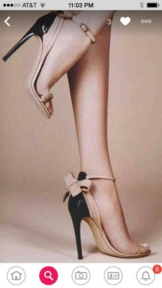 shoes heels black cream bows