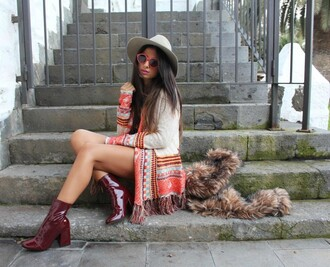 style by nelli blogger mid heel boots patent shoes burgundy shoes boho cardigan red sunglasses fall outfits