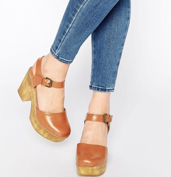 93c80db30dd shoes wooden heels boho leather clogs clog heels clogs platform clogs heels  boohoo wooden heels brown