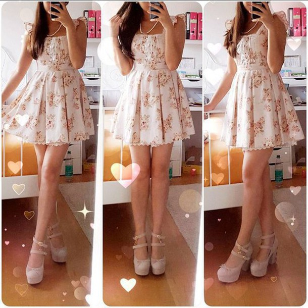 shoes liz lisa dress kawaii lace up lace up heels floral floral dress heels high heels strappy heels double strap heels lolita sweet princess dress princess gyaru hime gyaru japan japanese japanese fashion