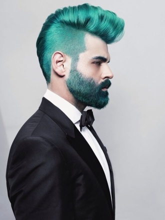 mens tuxedo hipster menswear bowtie mens blazer green hair hair dye