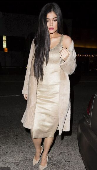 suede spring outfits kylie jenner kardashians bodycon dress midi dress shoes sweater dress beige coat nude heels