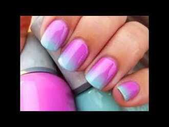 nail polish light blue ombre gradient nail art