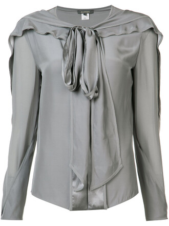 blouse bow women silk grey top