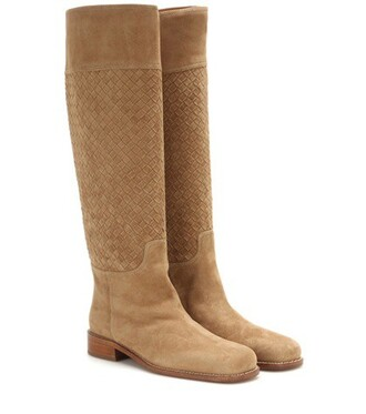 knee-high boots high boots leather beige shoes