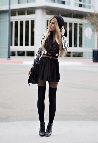 sweater outfit striped sweater combat boots black stockings stockings cute underwear scarf bag skirt stripes beanie thigh highs knee high socks black and white striped shirt