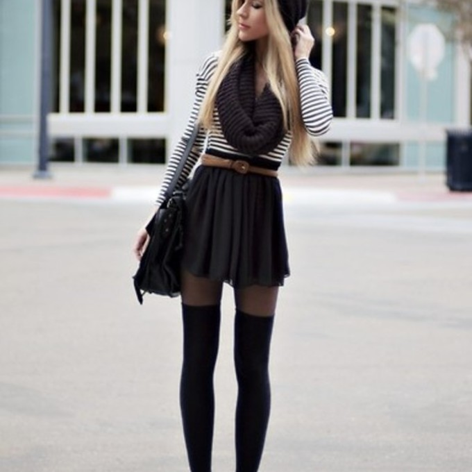 Shirt cute sweater outfit striped sweater combat boots black stockings stockings underwear skirt ...