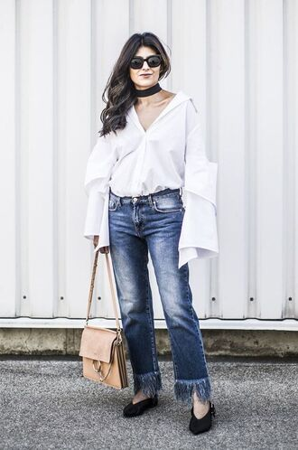 shoes babouches slippers jeans frayed denim bag chloe nude bag shirt white shirt spring outfits sunglasses black sunglasses choker necklace black choker
