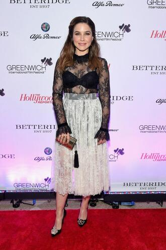 shoes top sophia bush midi skirt blouse see through