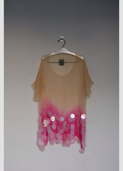 fashion gorgeous pink dip dyed ombre shirt cute t-shirt sequins pretty funky oversized sweater