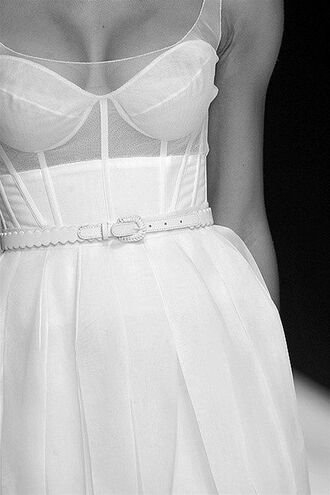 dress corset dress clothes wedding clothes white runway see through belt beautiful