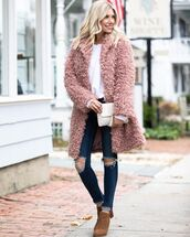 coat,faux fur coat,ripped jeans,brown boots,ankle boots,white blouse,white bag