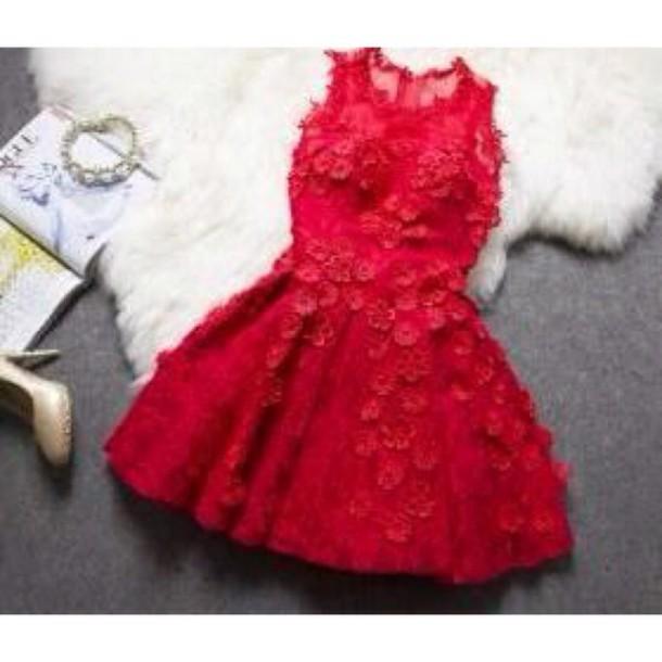 christmas dress short dress red red dress holiday dress lace dress dress flowers