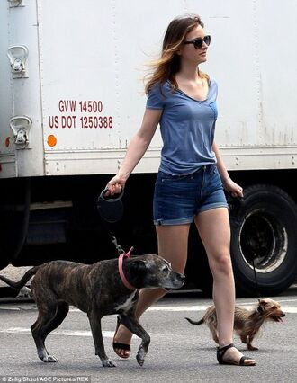 t-shirt leighton meester denim shorts shorts