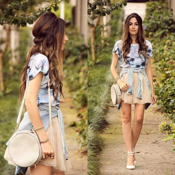 shirt cali lookbook skirt shoes heels chic ootd bag