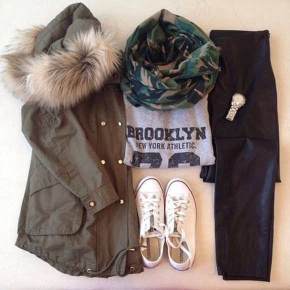 pants white coat fall outfits winter outfits parka coat pullover black converse